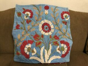 """Pottery Barn Bibiana Embroidered Floral Blue Throw Pillow Cover 24"""" x 24"""""""