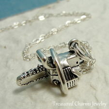 925 Sterling Silver Chainsaw Charm Necklace - Power Tool Handy Chain Saw Jewelry