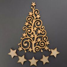 Wooden Christmas tree Stars Guestbook Art Family Craft Blank Shape MDF