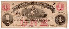 Virginia Treasury note Richmond $1 One Dollar July 21, 1862  issued AU/Unc