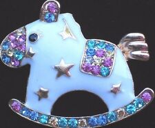 PASTEL ITS A BOY GIRL BABY SHOWER PARTY ROCKING HORSE PIN BROOCH JEWELRY 1.75""