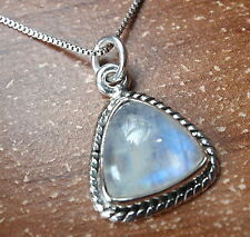 Blue Moonstone Triangular 925 Sterling Silver Pendant with Rope Style Accents