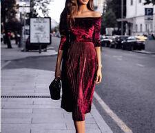 AU Fashion Women Off Shoulder Velvet Dress Long Sleeve Party Cocktail Dress SH