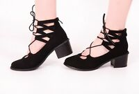 Ladies Gladiator Sandals Black Strap Lace Heel Zip Back Faux Suede New Shoes