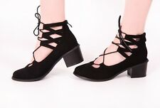 Ladies Gladiator Sandals Black Strap Lace Heel Zip Back Faux Suede New Shoes