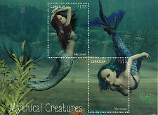 Liberia 2014 MNH Mythical Creatures 2v S/S Mermaids Stamps