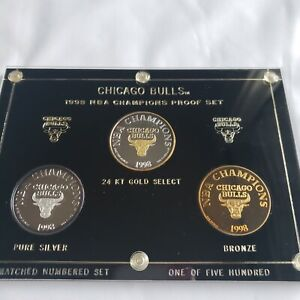 CHICAGO BULLS 97-98 .999 FINE SILVER ENVIROMINT ROUNDS 3 COIN PROOF SET 1/500