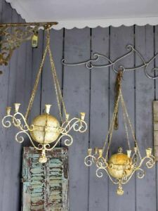 Pair of antique French 8 branch candle chandeliers