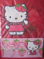 Sanrio HELLO KITTY SHOWER CURTAIN W/POCKET STRAWBERRY NEW VINTAGE 1976/2002