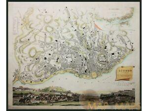 Lisbon Lisboa Portugal old town plan Cradock 1837 | Historical cities Portugal