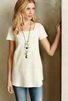 Anthropologie MEADOW RUE Women's SMALL Ivory LAUREL LACE Short Sleeve TOP