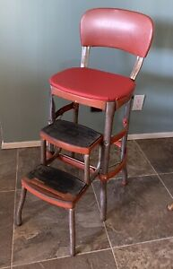 Vintage Red Cosco Chrome Kitchen Step Farm Chair Stool Plant Stand