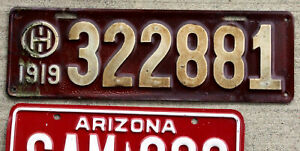 1919 White on Maroon Ohio License Plate