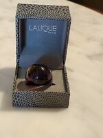 Lalique Purple Dome Glass Crystal Ring Size 7 In Box