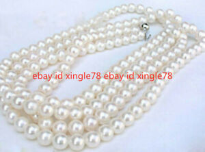 "Genuine Natural 7-8MM White South Sea Freshwater Cultured Pearl Necklace 50"" AAA"