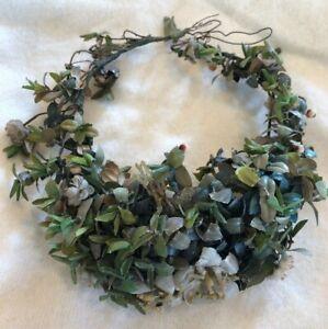 Antique Wax Flower Bridal Headpiece Garland Blues Greens