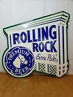 """Vintage Rolling Rock Extra Pale Tin Beer Tavern Bar Sign 16"""" x 16"""" Horse Head"""