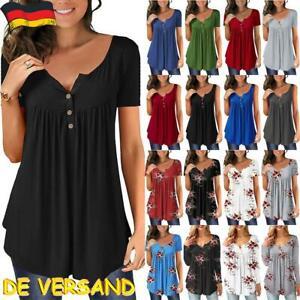 Damen Sommer Tunika T-Shirt Kurzarm Freizeit Hemd Bluse Top Shirt Oberteile DE
