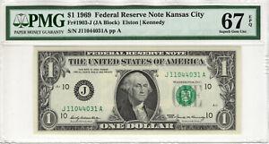 1969 $1 FEDERAL RESERVE NOTE KANSAS CITY FR.1903-J PMG SUPERB GEM UNC 67 EPQ