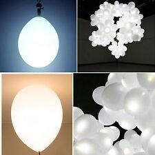 40x LED 30cm Helium Weiß Ballons für Hochzeit Party Kind Geburtstag Luftballon