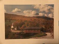 Vintage Bridges At The Green W Arlington Vermot Poster 24 X 18