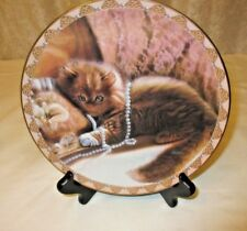 """Priscilla In Pearls"" Cat Kitten Collector Plate, #1039B 1994 Bradford Exchange"