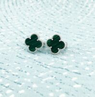 925 Sterling Silver Clover Earrings with Artificial Malachite