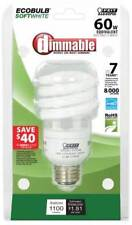 (12 LOT) ECOBulb60 Dimmable 15W / 60W 120V A19 Soft White Twist CFL E26 Medium