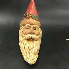Ceramic Moon Shaped Santa Ornament Kurt Adler Ksa Carved Vintage Look
