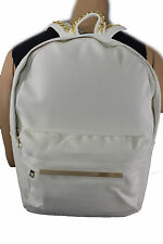 Women Men White Cream School Bag Back Pack Travel Faux Leather Gold Metal Chains