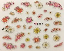 Nail Art 3D Decal Stickers Pink Orange White Flowers E358