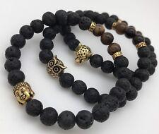 Lava Y Ojo De Tigre Bracelets Búho-lobo-buda Paqutete De 3