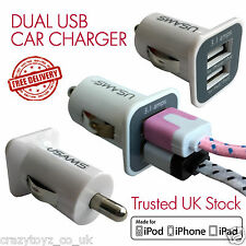 Universal DUAL USB 2 Port In Car Socket Twin Charger 12v White iPhone Samsung