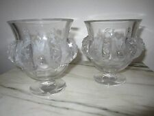 2- Vintage Lalique Crystal Dampierre w/Frosted Birds Vines Vase/Bowl/Urns;signed