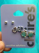 Three Pairs Of Claire's Silvertone Nautical Themed  Ball Anchor Fish Earrings