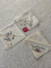 3 Vintage Women's Embroidered Handkerchiefs Hankies