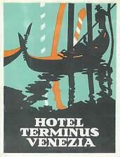 VENICE VENEZIA ITALY HOTEL TERMINUS VINTAGE LUGGAGE LABEL