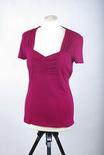 L180/39 Laura Ashley Jersey Stretch Sexy Fitted Burgundy Top , size UK12 Euro 38
