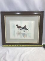 KARL ZEMBRUSKY Original ABSTRACT WATERCOLOR Amish Horse & Buggy Sign and Framed