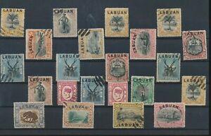 LN18590 Malaysia Labuan overprint wildlife animals fine lot used