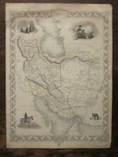 c1850 Persia (Iran) Rapkin Tallis Old Antique Map Tehran Esfahan Camel routes
