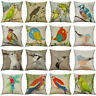 "Sofa Decor Pillow Parrot Case Home Cushion drawing Cover Cotton 18"" Linen"