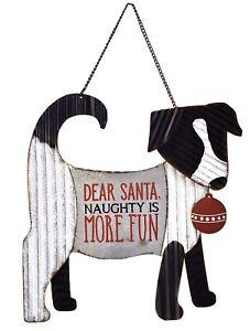 Dear Santa Naughty Corrugated Metal Wall Sign Home/Garden Decor Sunset Vista DOG