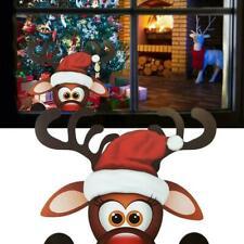 2 Stück Weihnachts Rentier Fensteraufkleber Kinderzimmer Wanddekoration O6E7