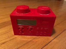 Authentic Lego Portable Digital Alarm Clock Radio Red Brick with Power Adapter