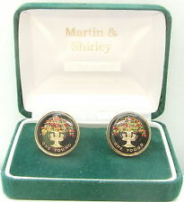 England OAK TREE cufflinks real £1 coins Black and colours and Gold