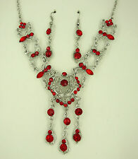 SILVER TONE VICTORIAN LOOK RED HEART DROP CRYSTAL NECKLACE & EARRINGS  SET