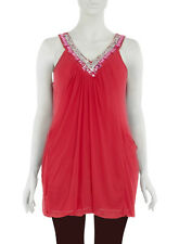 Evans/Praslin Embellished Jewellery Sleeveless Top 30/32 Pink/Multi