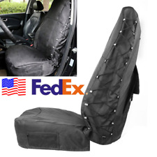 USA Car Seat Cover Gear Protector Waterproof Cloth +PU Black Leather +Cargo Nets