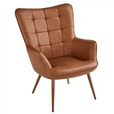 Faux Leather Wingback Chair Armchair for Living Room Home Office, Brown